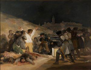 El tres de mayo de 1808 en Madrid o Los fusilamientos en la montaña del Príncipe Pío o Los fusilamientos del 3 de mayo Francisco de Goya, 1813-1814 Óleo sobre lienzo • Prerromanticismo, Museo del Prado